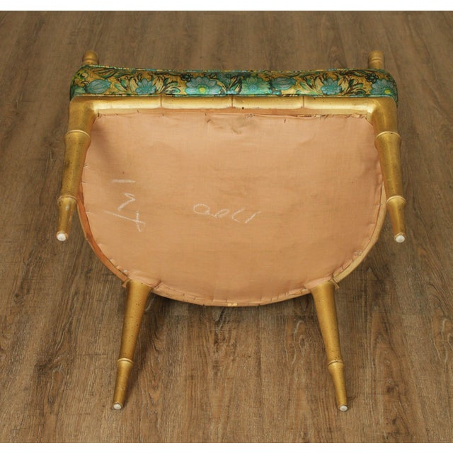 Hollywood Regency Faux Bamboo Mid Century Gilt Wood Barrel Back Armchairs - a Pair For Sale - Image 9 of 13