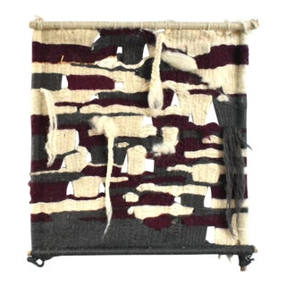 Vintage Mid-Century Hand-Woven Fiber Art Wool Wall Hanging For Sale