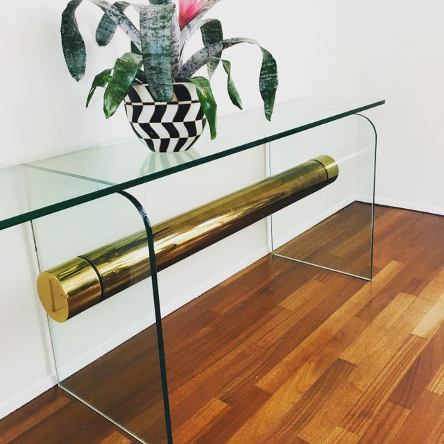 1970s Ultra Modern Glass & Brass Beam Console Sofa Table For Sale - Image 4 of 11