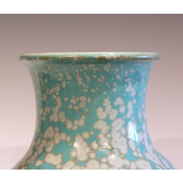 Japanese Studio Porcelain Antique Old Crystalline Sky Blue Hu Form Vase For Sale - Image 9 of 12