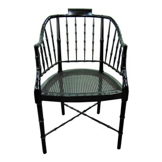 Baker Ebonized Faux Bamboo Chair For Sale