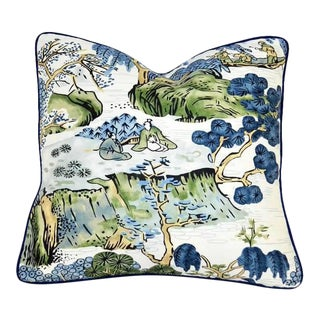 Thibaut Printed Navy Blue With White Canvas Solid Back Pillow For Sale