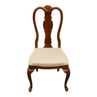 Late 20th Century Vintage Bernhardt Furniture Solid Cherry Queen Anne Side Chair For Sale