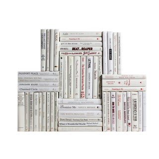 Modern Snowfall Book Wall : Set of Fifty Decorative Books in Shades of White For Sale