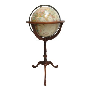 1990s Georgian Ethan Allen Replogle Globe on Queen Ann Stand For Sale