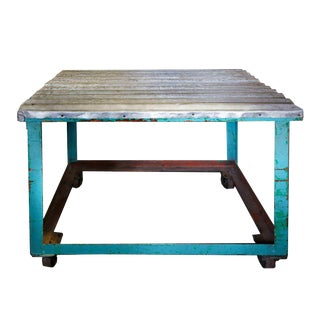 20th Century Industrial Iron Table on Wheels