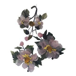 1950s Floral Hardstone Candleholders - Set of 3 For Sale