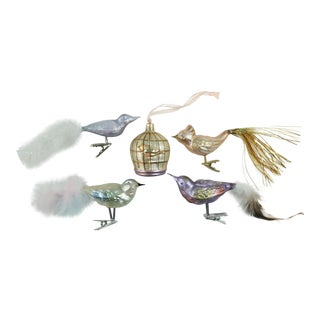 Blown Glass Bird Christmas Ornaments - Set of 5 For Sale