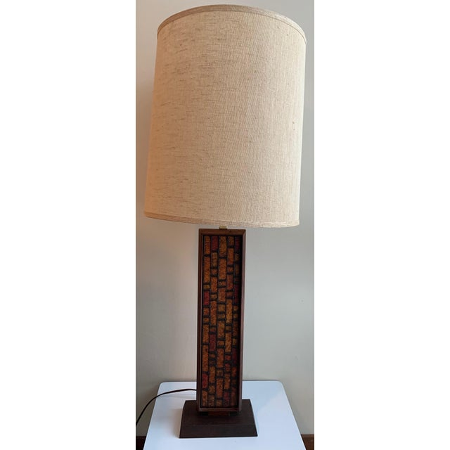 1960s 1960s Mosaic Style Wood Lamp Mid Century Modern Retro Lighting For Sale - Image 5 of 10