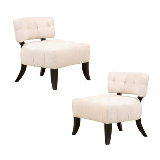 Restored Pair of Vintage Biscuit Tufted Loungers in the Style of Billy Haines For Sale