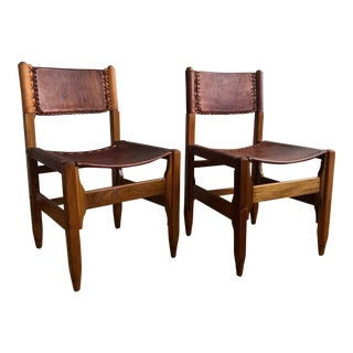 Vintage Arte Sano Colombian Leather Hunting Lodge Chairs - a Pair