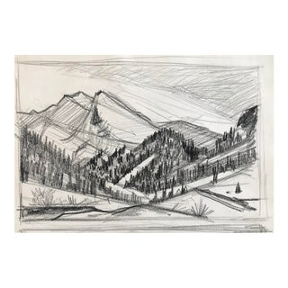 Mid-Century Mountain Landscape Drawing C. 1950 For Sale