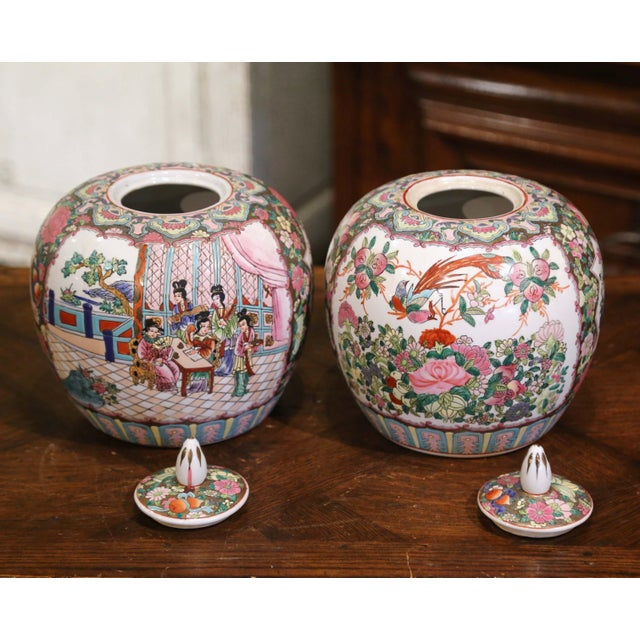 Mid-Century Chinese Famille Rose Porcelain Melon Jars - a Pair For Sale - Image 9 of 11