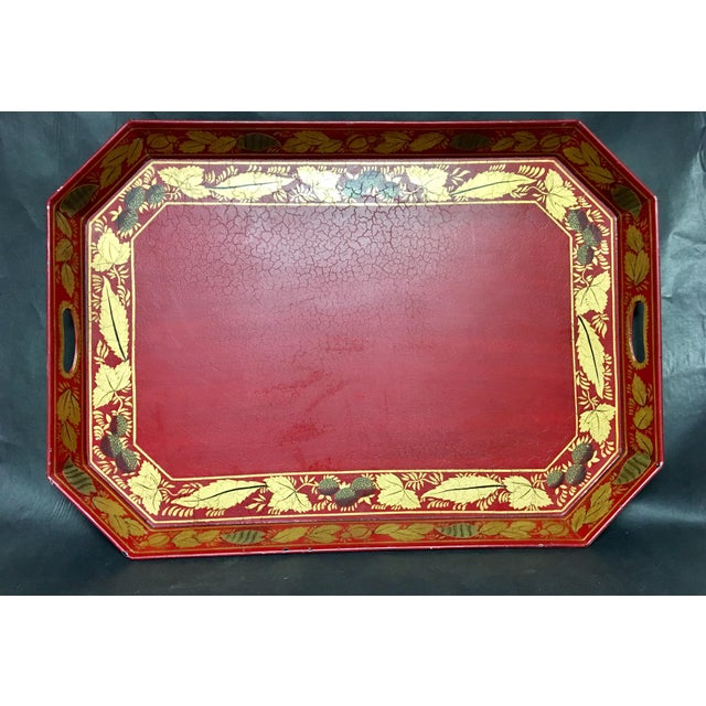 English Traditional Vintage Tole Tray Red With Gold Stencil Design For Sale - Image 3 of 9