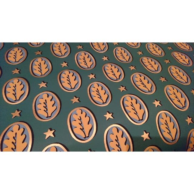 """Clarence House """"Oak Leaf"""" Dark Verde Wallpaper For Sale - Image 4 of 4"""