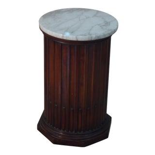 Mahogany & Marble Column Pedestal