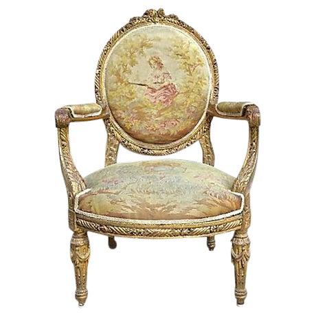 Charles X Antique Aubusson Fauteuil For Sale
