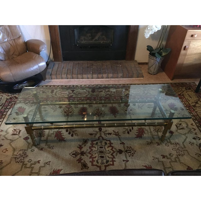 1970s 1970s Vintage Brass Faux Bamboo Chinese Chippendale Coffee Table For Sale - Image 5 of 7