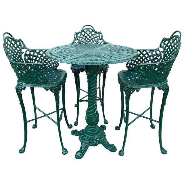 Victorian Style Garden/Patio Hightop Table and 3 Chairs, Provenance Celine Dion - Set of 4 For Sale - Image 11 of 11
