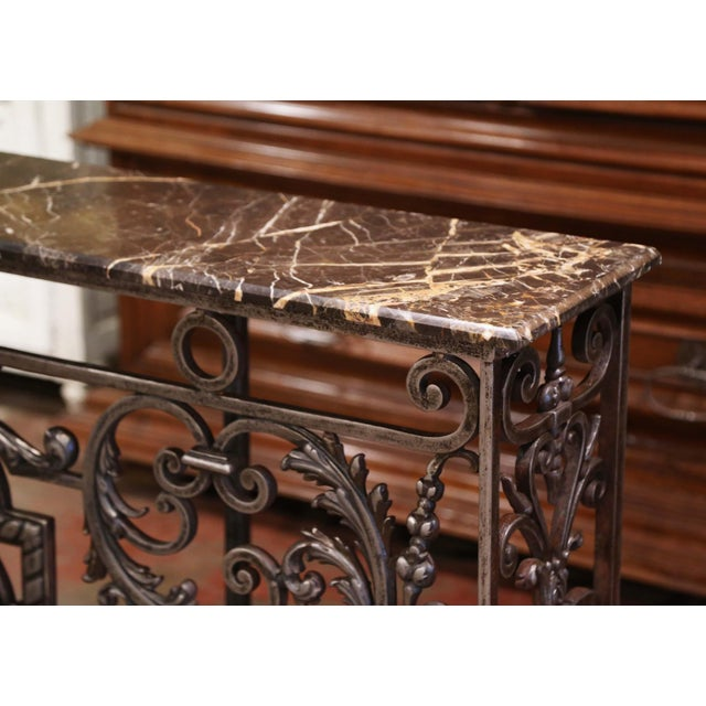 Gray 18th Century French Louis XV Polished Iron Console Table With Grey Marble Top For Sale - Image 8 of 13