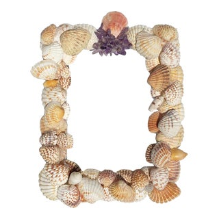 Grotto Style Purple and Pink Rectangle Shell Photo Frame With Gem Stones and Seashells For Sale