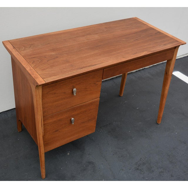 Drexel Mid-Century John Van Koert for Drexel Profile Walnut Floating Desk For Sale - Image 4 of 10