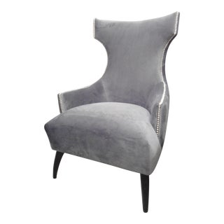 Gray Velour Wingback Armchair
