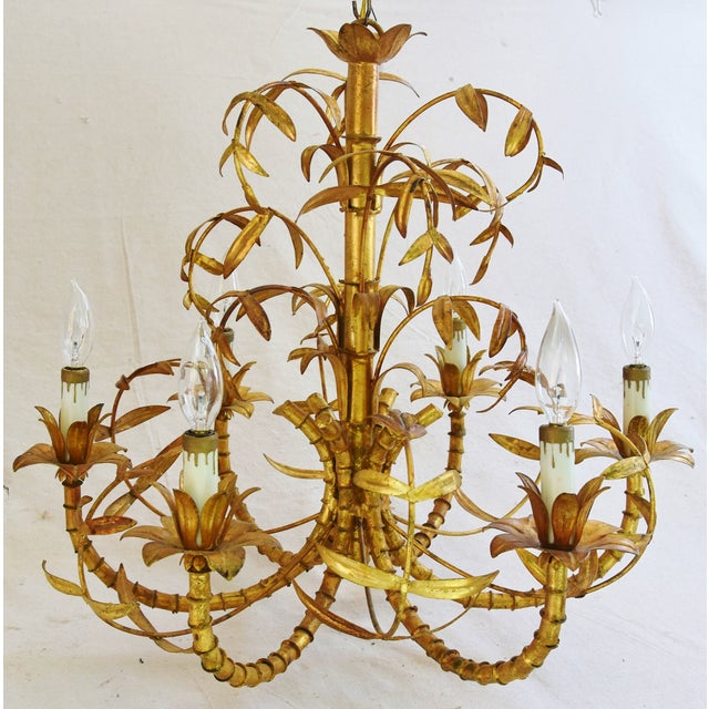 Vintage Italian Six-Arm/Light Gold Gilt Bamboo Tole Chandelier - Image 2 of 11