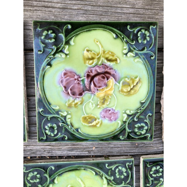 Victorian Antique English Art Nouveau/Victorian Era Raised Relief Ceramic Tiles Floral Pattern - Set of 6 For Sale - Image 3 of 13