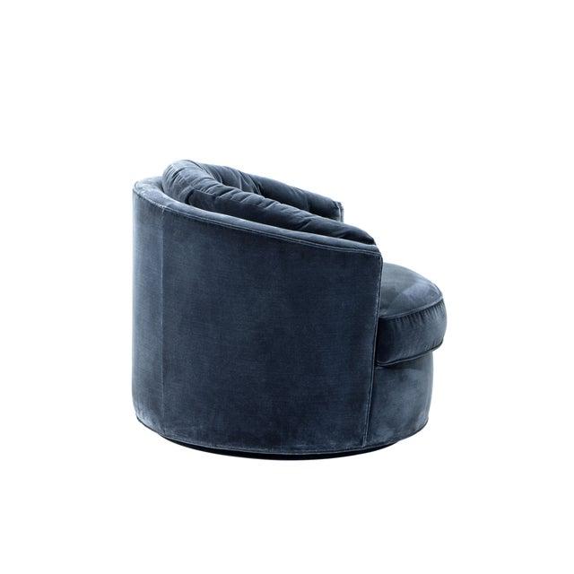 Eichholtz Recla Blue Round Art Deco Accent Chair For Sale - Image 4 of 8