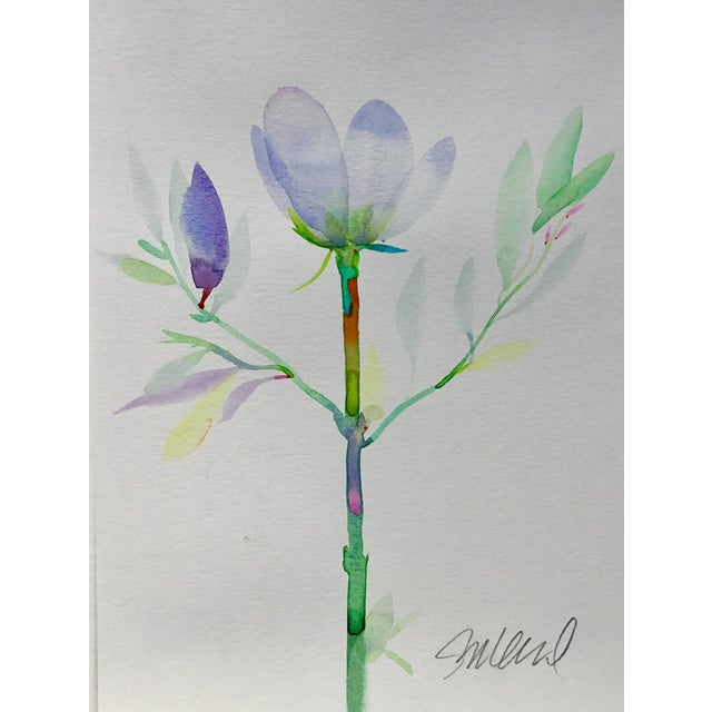 """Abstract Botanical 47, Original Watercolor 9x12"""" For Sale - Image 3 of 3"""