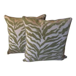 Velvet Animal Print Pillows - a Pair For Sale