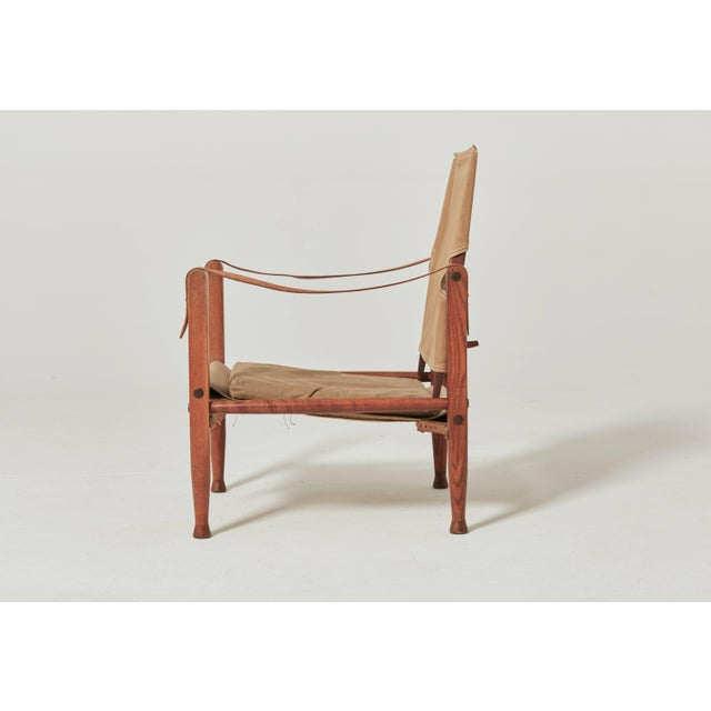 Rud Rasmussen Kaare Klint Safari Chair in Canvas, Made by Rud Rasmussen, Denmark For Sale - Image 4 of 6