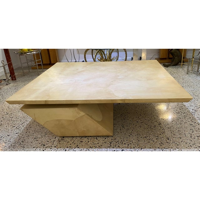 This large scale and stylish goatskin covered cocktail table dates to the 1980s and is very much in the style of pieces...