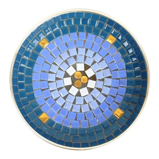 Midcentury Mosaic Blue Tile Dish For Sale