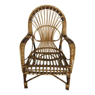 Vintage Franco Albini Style Italian Stick Rattan Bamboo Arm Chair For Sale