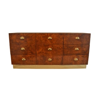 Brass and Burl Wood Dresser by Founders Furniture For Sale