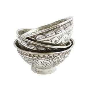 3 Vintage Tibetan Silver Repoussé Cups/Bowls