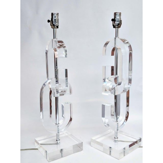 """Lucite """"Cc"""" Table Lamps in the Manner of Chanel - A Pair For Sale - Image 11 of 11"""