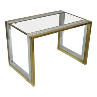 1970s Mid Century Modern Messin Finland Chrome Brass Glass Waterfall Side Table For Sale
