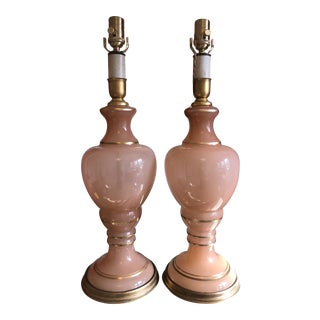 Ars Cenedese Pink Opaline Murano Lamps - a Pair For Sale