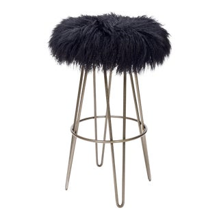 Curly Black Hairpin Swivel Barstool For Sale