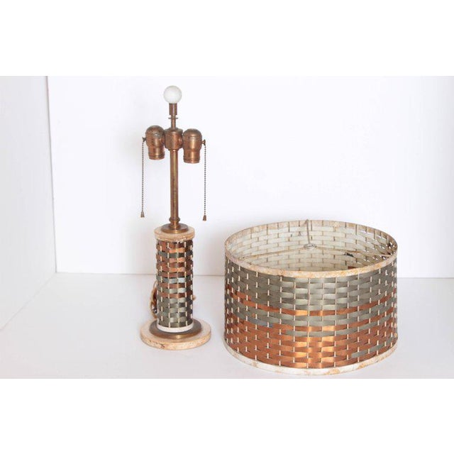 Machine Age Art Deco Sandel Table Lamp, Mixed Metal, Lacquered Wood Fabulous mixed-metal weave construction. Likely...
