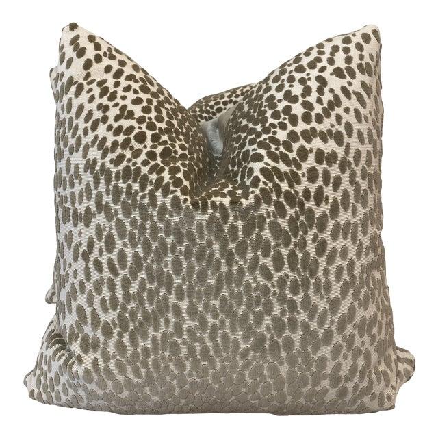 "Schumacher ""Cheetah Velvet"" in Natural 22"" Pillows For Sale"