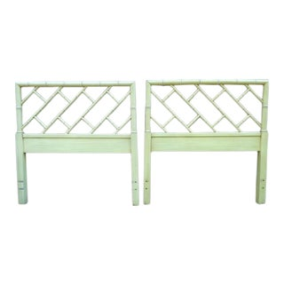 Mid Century Chippendale Faux Bamboo Twin Headboards ~ a Pair