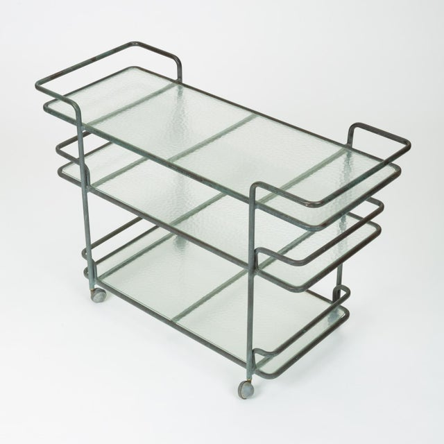 Metal Richard Frinier Bronze Bar Cart for Brown Jordan For Sale - Image 7 of 13