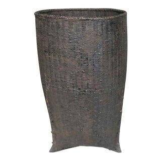 Vintage Tribal Storage Basket of Bamboo Rattan and Wood in Karen of Burma Style For Sale