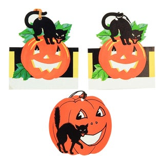 Art Deco Jack O'Lanterns & Black Cats Halloween Bridge Tally Cards - Set of 3 For Sale