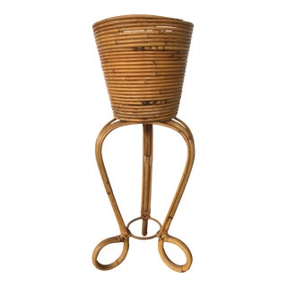Vintage Mid-Century Italian Crespi Style Pencil Reed Rattan Pedestal Bamboo Planter For Sale