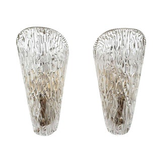 Textured Glass Sconces by J.T Kalmar For Sale